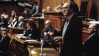 Kurt Furgler bei seiner Abschiedsrede im Bundeshaus am 31. Dezember 1986.