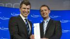 Alexander Ilic und Michael Born von der Firma Dacuda AG, Gewinner des Swiss Economic Award Hightech/Biotech 2011.