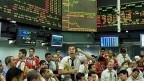 Spekulieren ist gefährlich, vor allem mit Währungen. Börse von Sao Paulo in Brasilien.