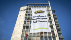 Bereits am 17. April manifestierten Greenpeace-AktivistInnen ihren Protest an einem Gebäude des Agrarkonzerns Syngenta.