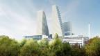 Links der zurzeit in Bau befindliche 160 Meter hohe Roche-Turm, rechts der neu geplante 205 Meter hohe Büroturm.