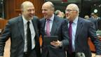 Ecofin-Treffen in Brüssel, EU-Wirtschafts- und Währungskommissart Pierre Moscovici, der spanische Wirtschaftsminister Luis de Guindos und der französische Finanzminister Michel Sapin scheinen sich über die Lizenzboxen zu freuen.