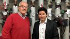 Projektleiter Gustav Lorenz (links) und Thomas Vogt , Direktor des Hotels Valbella Inn im Heizungskeller des Hotels.