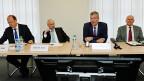 v.l.n.r.: Valentin Vogt, Arbeitgeberverband; Gottlieb Keller, scienceindustries; Heinz Karrer, Economiesuisse; Hans Hess, Swissmem.