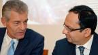 Für Heinz Karrer steht viel auf dem Spiel: Als Verwaltungsratspräsident muss er Kuoni zum Erfolg zurückverhelfen. Bild: Heinz Karrer und der neue CEO Zubin Karkaria.