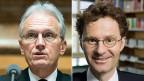 KMU könnten als Zulieferer von der USRIII profitieren, meint Gewerbeverbandsdirektor Hans-Ulrich Bigler (links). Selbst wenn die Gewinnsteuern für alle Firmen sinken, müssten am Ende die KMU und deren Beschäftige – als gewöhnliche Steuerzahler – die Zeche begleichen, warnt hingegen Gewerkschaftsökonom Daniel Lampart (rechts).