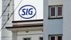 Das Logo des Schweizer Industrieunternehmens SIG Combibloc Group AG in Neuhausen am Rheinfall.