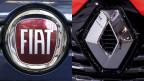 Die Logos von Fiat-Chrysler (li.) und Renault. Bildmontage.