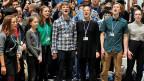 Die schwedische Umweltaktivistin Greta Thunberg (2. li. vorne) und einige Jugendliche von der «Fridays for Future»-Bewegung an einer Aktion bei der UN-Klimakonferenz COP25 in Madrid.
