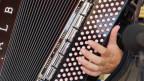 Grossaufnahme eines Akkordeons mit einer Hand, die die Tasten bedient.