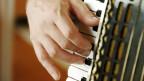 Eine Hand spielt auf den Tasten eines Akkordeons.