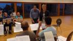 Mélanie Freymond ist gut gelaunt bei den Proben mit Divert'in Brass.