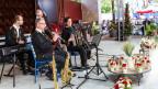 Die Volksmusik-Formation auf einer Open Air-Bühne.