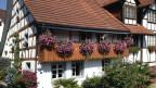 Balkon mit rosa Geranien.