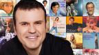 Collage mit Plattencover und Porträt des Moderators.