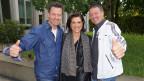 Gruppenfoto mit Maja Brunner und ihren beiden Gesprächsgästen.