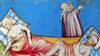 Zwei Verseuchte auf Krankenbett und Pfleger im Hintergrund (Mittelalterliche Zeichnung)