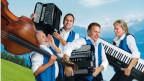 Vier Musiker mit Instrumenten machen Luftsprünge.