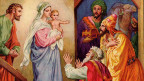 Gemälde mit Maria, die das Jesuskind trägt, Josef und drei Königen.
