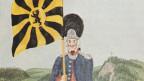 Ein Gardist mit einer antiken Fahne der Stadt Sankt Gallen.