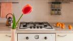 Eine eine Vase mit einer roten Tulpe steht auf einer Anrichte in der Küche.