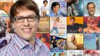 Collage mit Porträt eines Moderators auf Bildern von Plattencovern.