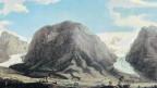 Gemälde von Caspar Wolf: Oberer und Unterer Grindelwaldgletscher mit Wetterhorn, Mettenberg und Eiger 1774.