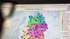 Eine Landeskarte auf einer Webseite.