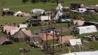 Im Unterlager 4 bei Steinenbrugg wird noch heftig gearbeitet fuer das zweiwoechige Pfadilager im Juli 2008.
