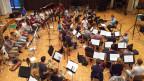 Das Symphonische Blasorchester Schweizer Armeespiel bei den CD-Aufnahmen im Gemeindesaal in Buchs AG.