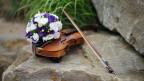 Eine Geige mit einem Blumenstrauss darauf.