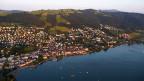 Luftaufnahme von einer Stadt am See.
