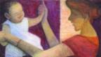 Ein gemaltes Bild von einer Frau die ihr Kleinkind an den Armen hält.