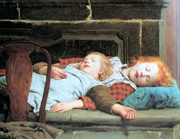 Zwei schlafende Mädchen auf der Ofenbank (1895).