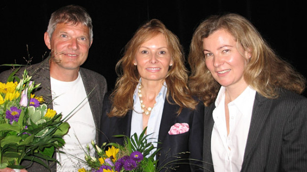 Karin Frei (r.) mit Ilona De March und Markus Schneider.