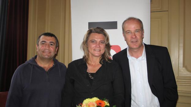 Mano Khalil, Christine Beer mit DRS 1-Gastgeber Dani Hitzig.
