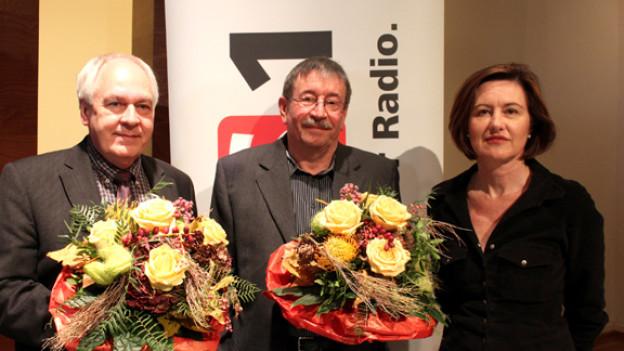 Walter Büchi, Kurt Zimmerli und DRS 1-Gastgeberin Katharina Kilchenmann.