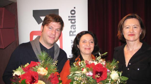 Roman Tschäppeler, Brigitte Kuthy Salvi mit DRS 1-Gastgeberin Katharina Kilchenmann.
