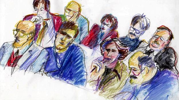 Gerichtszeichnung der neun Geschworenen bei einem Prozess im Obergericht in Zürich (1999).
