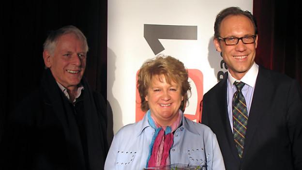 Dr. Franz Hochstrasser, Doris Wicki und DRS1-Gastgeber Christian Zeugin.