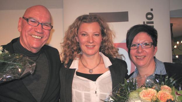 Otto Ineichen, DRS 1-Gastgeberin Karin Frei und Monika Felder-Brunner.
