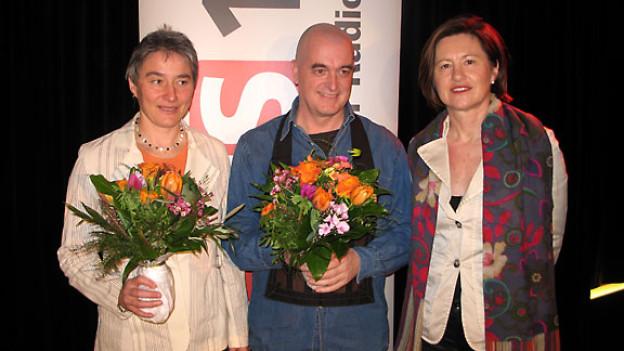 Béatrice von Siebenthal, Eddie Eymann und DRS 1-Gastgeberin Katharina Kilchenmann.