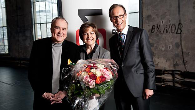 Kurt Felix, seine Frau Paola und DRS 1-Gastgeber Christian Zeugin.