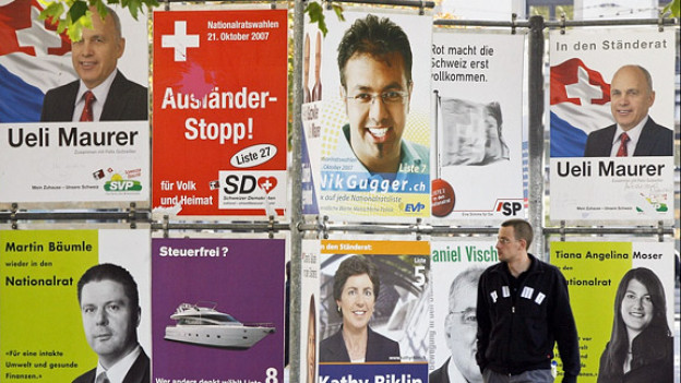 Wahlkampf ganz traditionell: Wahlplakate vor den letzten National- und Ständeratswahlen 2007 in Zürich.