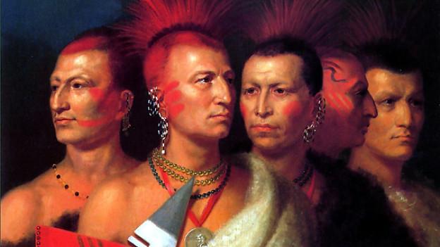 Gemälde mit fünf Indianern mit gefärbten Haaren und leichter Kopfbemalung.