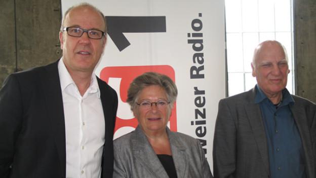 DRS 1-Gastgeber Daniel Hitzig, Liana Ruckstuhl und Richard Butz.