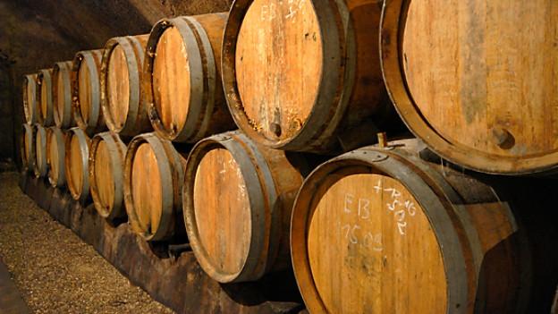 Weinfässer in einem Schlosskeller.