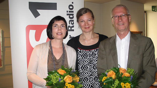 Alexandra Haas, DRS 1-Gastgeberin Karin Frei und Rolf Pfeifer.