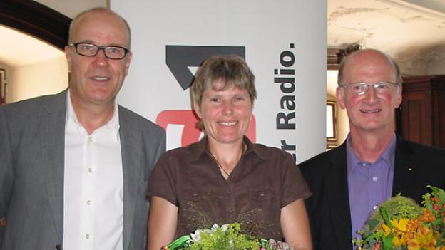 DRS 1-Gastgeber Daniel Hitzig, Angelika Dietrich und Werner Ibig.