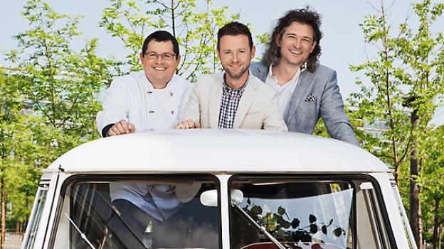 Grill-Ueli, Nik Hartmann und Dani Häusler sind diesen Sommer unterwegs mit dem VW-Bus.